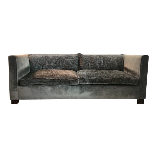 Tuxedo Style Two-Tone Velvet Upholstered Sofa - Custom by Saks and Santangelo For Sale