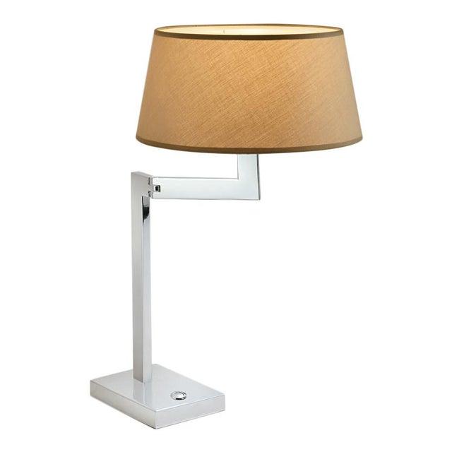 Hollywood Regency Chrome Swing Desk Lamp For Sale - Image 3 of 3