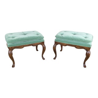 Drexel Heritage French Cabrio Leg Pillow Top Foot Stools - a Pair For Sale