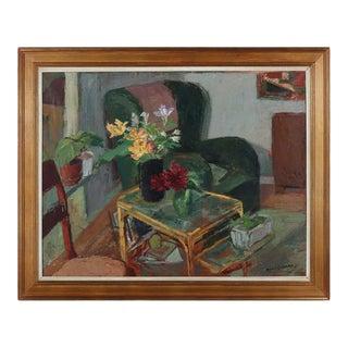 Danish Modern Interior Oil Painting Framed For Sale