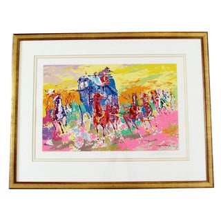 Mid Century Modern Framed Signed Leroy Neiman Lithograph Numbered 164/300 Horses