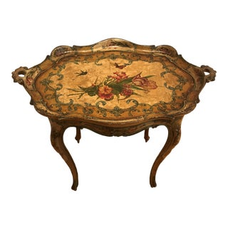 Antique Italian Hand Painted Papier Mache Tea Table With Matching Integrated Tray For Sale