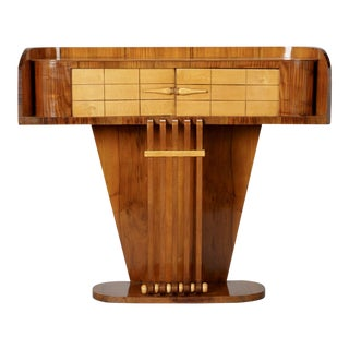 Italian Burl Wood Art Deco Console with Two Doors