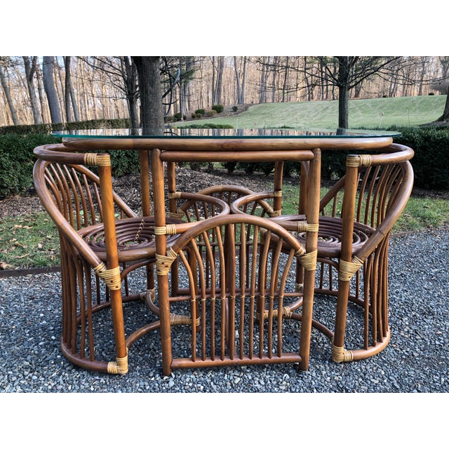 Boho Chic Rattan and Bentwood Dining Set for Two - 3 Pieces For Sale - Image 12 of 13