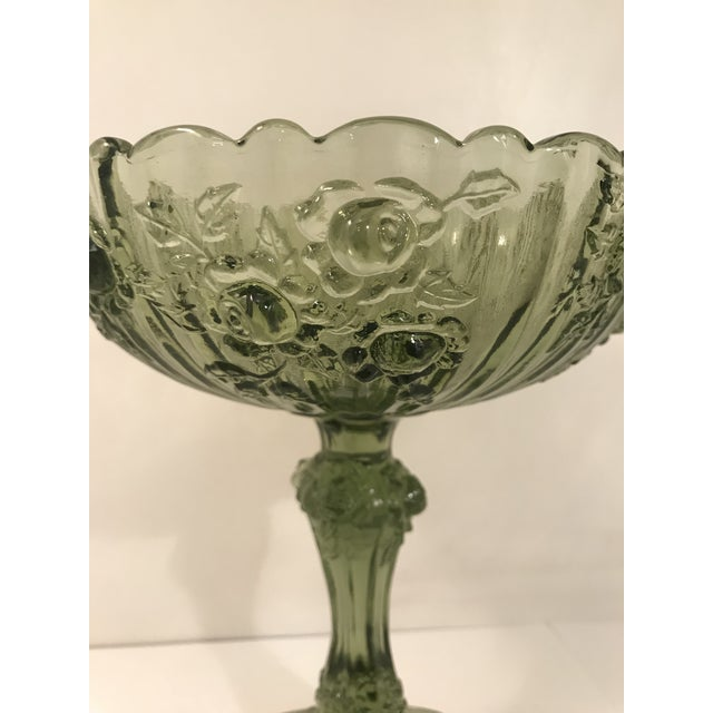 Art Nouveau Fenton Cabbage Rose Colonial Green Glass Footed Candy Dish Compote For Sale - Image 3 of 6