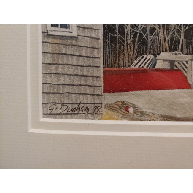 1970s Gregory Dunham - the Cottage W/Blue Door- Watercolor Painting For Sale - Image 5 of 8