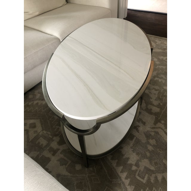 Contemporary Oval Faux Marble and Steel Two Tier Coffee Table For Sale In Philadelphia - Image 6 of 11