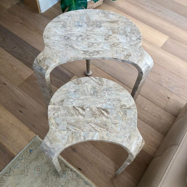 Tessellated Fossil Stone Nesting Tables - Set of 2 For Sale - Image 12 of 13