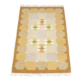 "Vintage Ingegerd Silow Mid-Century Swedish Flat Weave ""Siljan"" Rug - 7'5"" X 5'5"" For Sale"