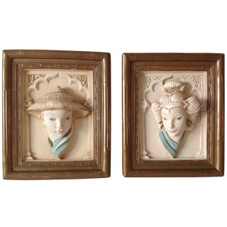 C.1950s Vintage Plaster Asian-Style 3-D Relief Wall Art by Alexander Production Co. - a Pair For Sale