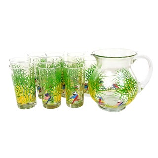 Mid-Century Island Canefields Pitcher & Tumblers Beverage Set For Sale