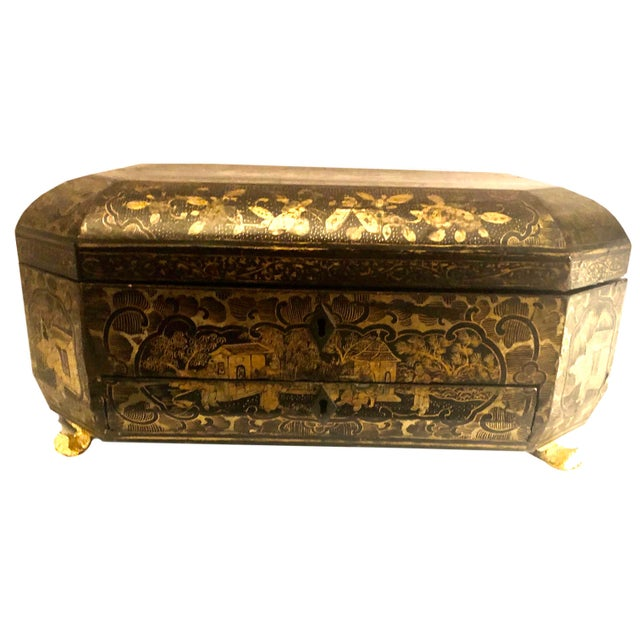 19th Century Chinese Black Lacquer Work Box For Sale - Image 9 of 11
