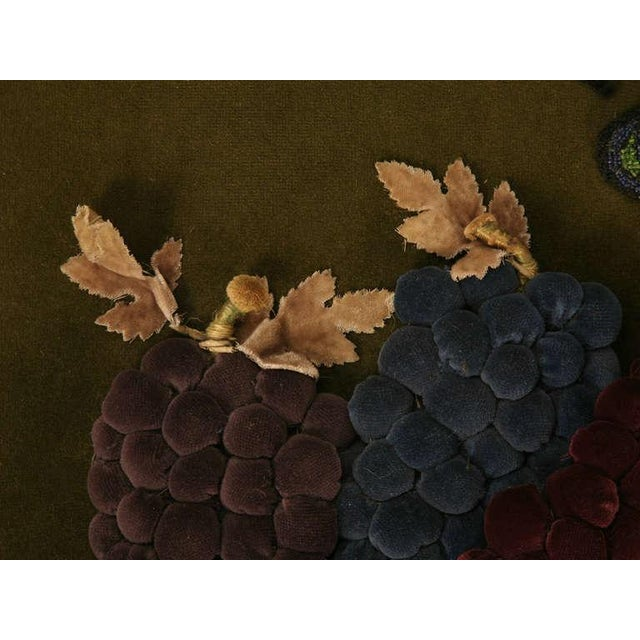 Vintage English Grapes & Butterfly Motif Velvet Pillow For Sale - Image 9 of 11