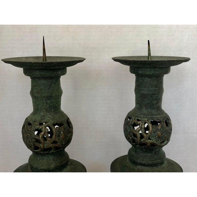 Metal James Mont Style Greek Key/Horses Design Cast Bronze Verdigris Floor Candlesticks - a Pair For Sale - Image 7 of 12