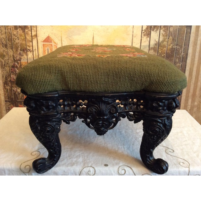 1930s 1930s Vintage Victorian Cast Iron Needlepoint Footstool For Sale - Image 5 of 12