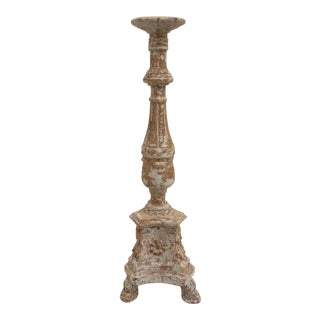 Carved Wood Altar Stick Candle Holder For Sale