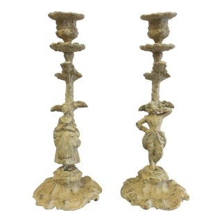 Figurative Cast Iron Candle Holders- a Pair For Sale