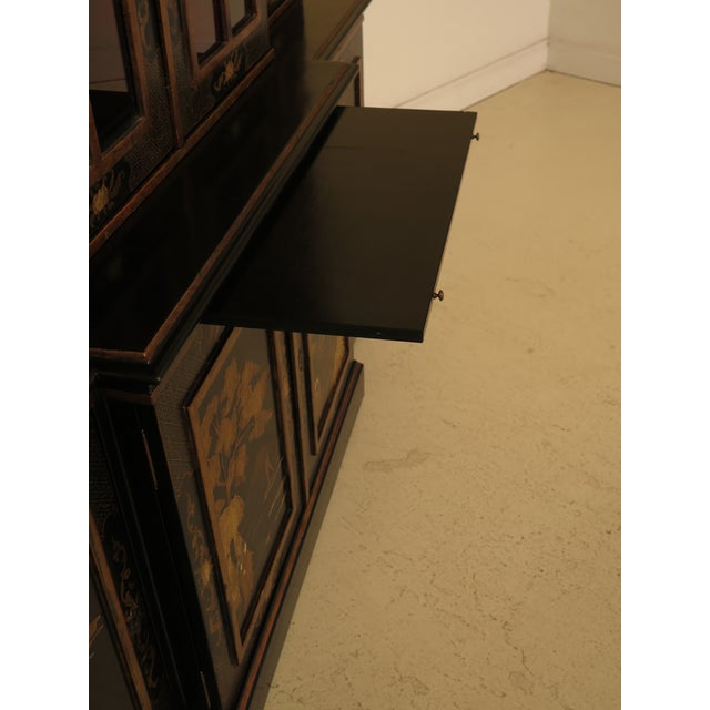 Black 1980s Chinoiserie Decorated 4 Door Breakfront Bookcase For Sale - Image 8 of 13
