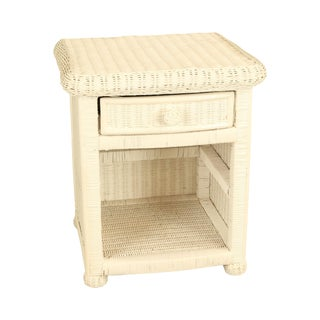 Vintage White Wicker Nightstand For Sale