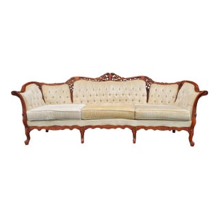 Victorian Carved Wood Ivory Settee For Sale