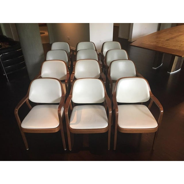 Vintage Don Petitt for Knoll White Leather Armchairs - Set of 12 - Image 2 of 11