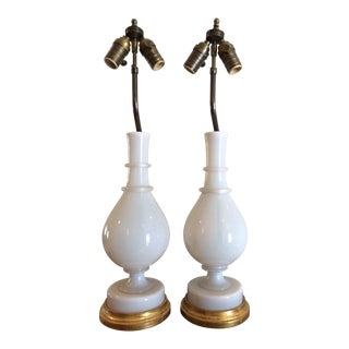 Pair of Antique White French Opaline Glass Vases Now Lamps