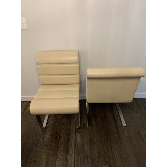 Mid-Century Modern Mariani Laguna Pace Cantilevered Chrome and Leather Dining Chairs - Set of 8 For Sale - Image 3 of 11