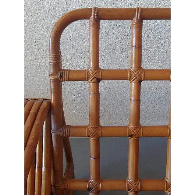 Brown Mid 20th Century Paul Frankl Style Swoop Seat Rattan Lounge Chair For Sale - Image 8 of 13