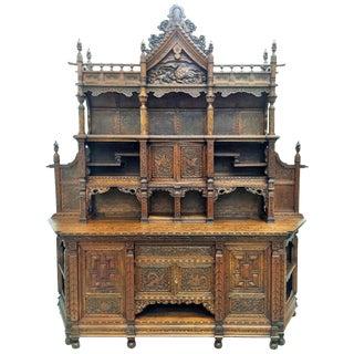 Antique Japanesse Hand-Carved Elmwood Cabinet, Sideboard, Meiji, 20th Century For Sale