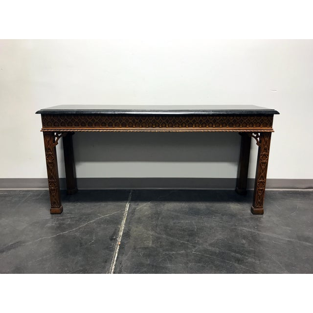 Vintage Carved Mahogany & Tessellated Marble Sofa Table attr to Maitland Smith - Image 2 of 11
