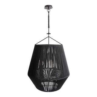 Contemporary Rope Wrapped Gem Tall Pendant Light by Cuff Studio