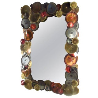 Mid-Century Wall Mirror After Curtis Jere For Sale