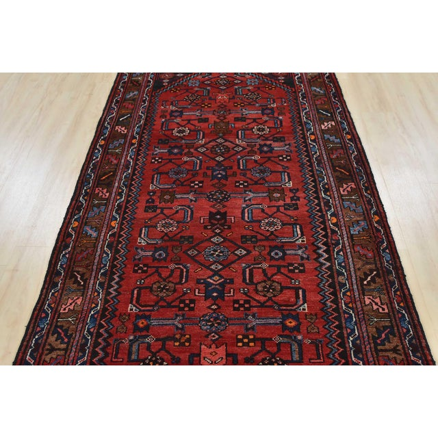 1970s Vintage Persian Hamadan Runner - 4'2'' X 10' For Sale - Image 5 of 13