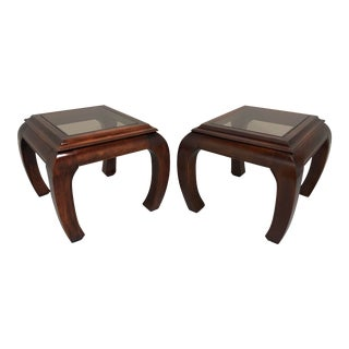 Vintage Asian Ming Style Glass Top End Side Tables - a Pair For Sale