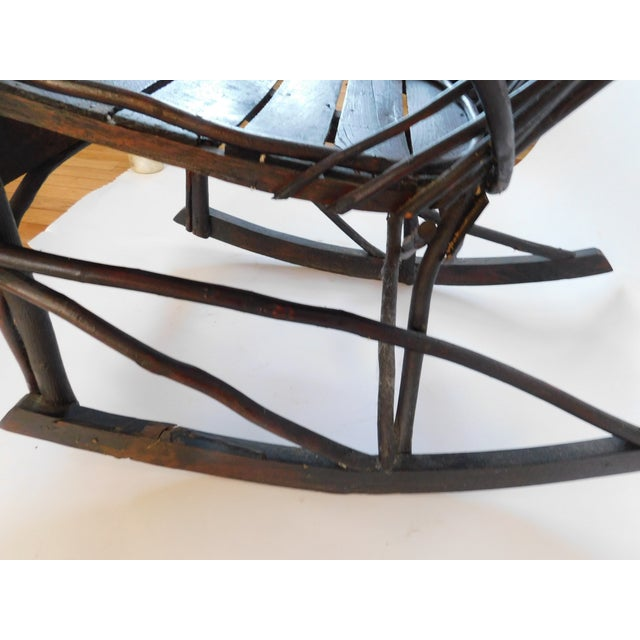 Wood 20th C. American Adirondack Twig Willow Rocking Chair For Sale - Image 7 of 13