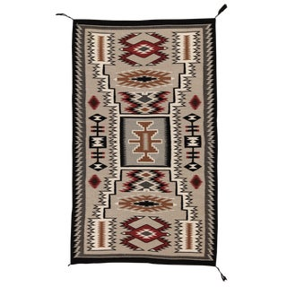 "1960s Navajo Storm Pattern Wool Rug - 2'11' X 4'10"" For Sale"