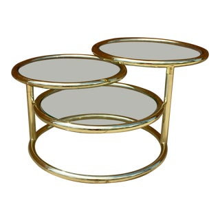 Mid Century Round Gold Metal Swivel Coffee Table