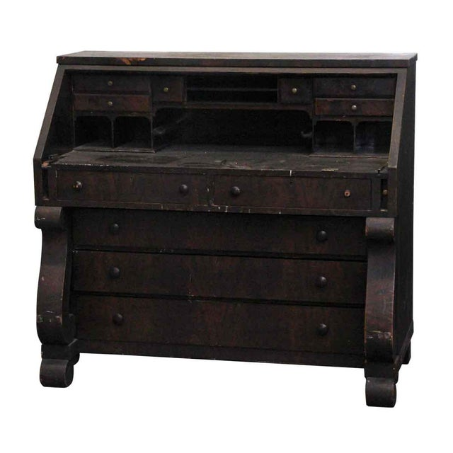 Classic Empire style wooden secretary with a dark mahogany finish. Features 11 drawers & 7 storage slots. Made by Paine...