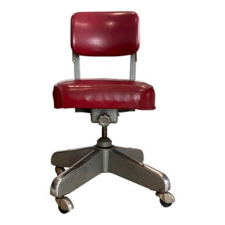 Vintage Red Swivel Office Chair For Sale