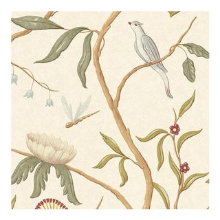 "Adam's Eden Ivory Botanic Style Wallpaper - - Extra Wide 51"" Wallpaper For Sale"