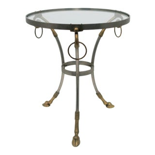20th Century Neoclassical Brass and Glass Gueridon Side Table For Sale