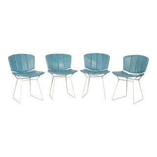 Knoll Bertoia Set 4 White Wire Dining Chairs Blue Cushions For Sale