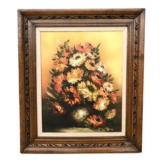 Vintage 1960s Floral Oil Painting in Carved Wood Frame For Sale