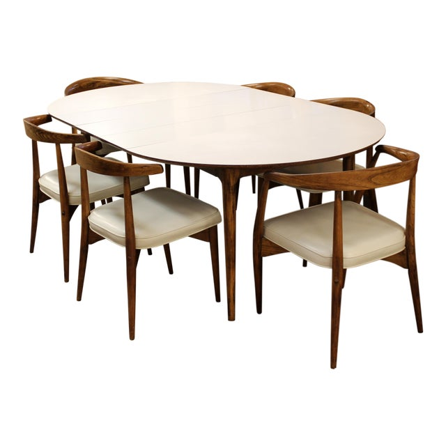 Mid Century Modern Lawrence Peabody Craft Assoc.Dining Table & 6 Side Chairs - Set of 7 For Sale