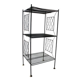 1960s Mid Century Modern 3-Tier Metal Plant Stand For Sale