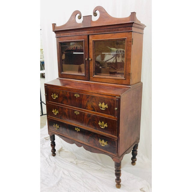 Stunning Early Antique Federal / Sheraton Style Glass Cabinet Topped Fall Front / Slanted Flip Out Secretary Desk / Chest....