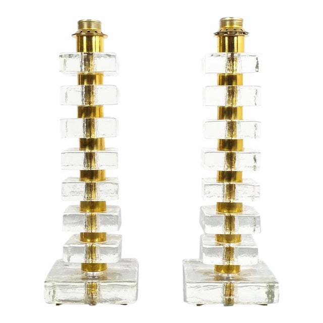 Pair of Large Bakalowits Square Block Glass Table Lights, Austria, 1970 For Sale