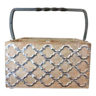 21st Century Contemporary Light Wash Wood Caddy With Metal Lattice Design Details