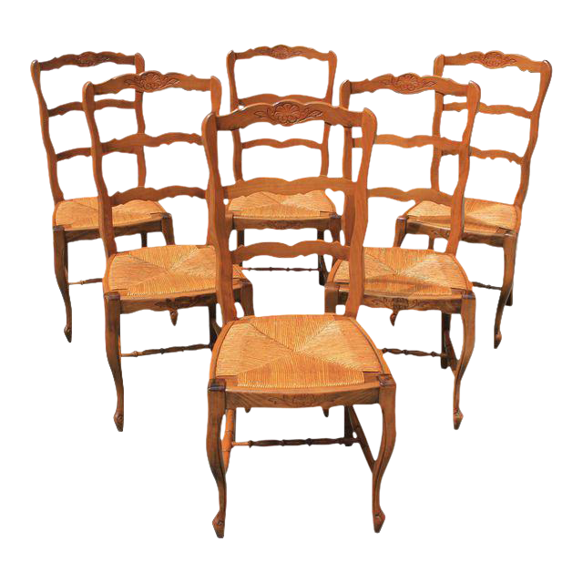French Country Rush Seat Solid Walnut Dining Chairs   Set Of 6