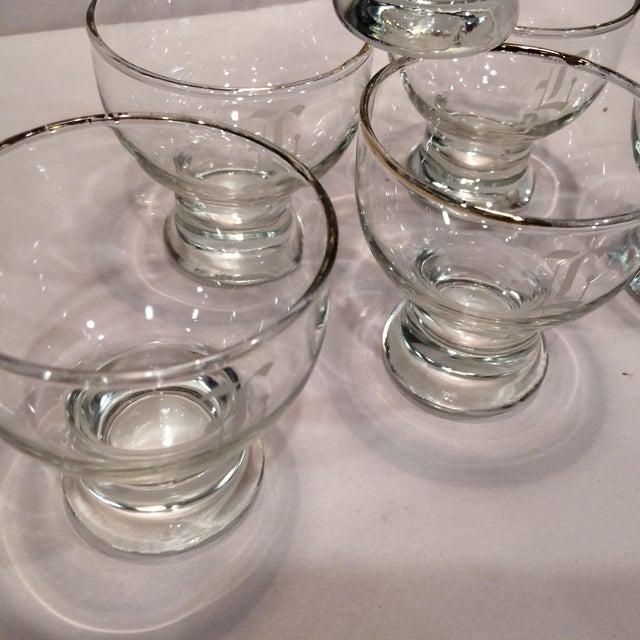 """Vintage """"L """" Monogrammed Crystal Aperitif Glasses - Set of 6 - Image 7 of 11"""